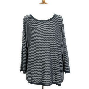 Eileen Fisher Bateau Neck Tipped Detail Sweater L